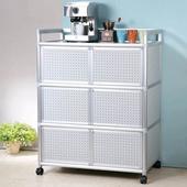 《Homelike》鋁合金3尺六門收納櫃(黑花格)