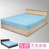 《Homelike》艾莉5尺房間組(床頭箱+床底)-二色(白橡)