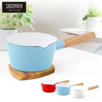 仙德曼 SADOMAIN 琺瑯單柄牛奶鍋 -藍色(15cm)