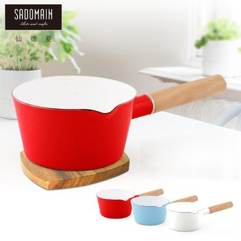 仙德曼 SADOMAIN 琺瑯單柄牛奶鍋 -紅色(15cm)