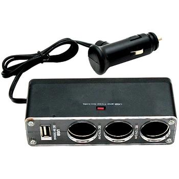 汽車用三孔+USB輸出孔擴充點煙器(WF-0096)