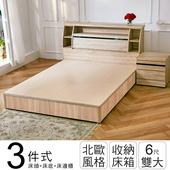 《ihouse》秋田日式收納房間組(床頭箱+床底+床邊櫃)-雙大6尺(胡桃)