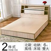 《ihouse》秋田日式收納房間組(床頭箱+床底)-雙大6尺(胡桃)
