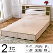 《ihouse》秋田日式收納房間組(床頭箱+床底)-雙人5尺(胡桃)