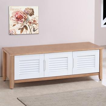 《Homelike》黛兒4尺百葉坐式鞋櫃-原木雙色
