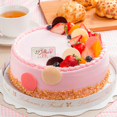《預購-樂活e棧》生日快樂造型蛋糕-初戀圓舞曲蛋糕(水果x布丁,6吋1顆)