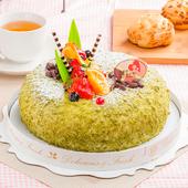 《預購-樂活e棧》生日快樂造型蛋糕-夏戀京都抹茶蛋糕(水果x布丁,6吋1顆)