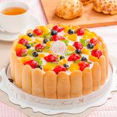 《預購-樂活e棧》生日快樂造型蛋糕-繽紛嘉年華蛋糕(水果x布丁,6吋1顆)