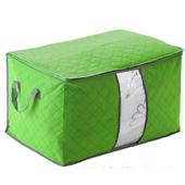 《月陽》60X40竹炭彩色加高型透明視窗衣物收納袋整理箱 2入 C130LX2(鮮綠色X2)