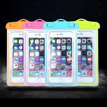 JTourust 光警示條全透明手機防水背袋/防水收納袋(橘)