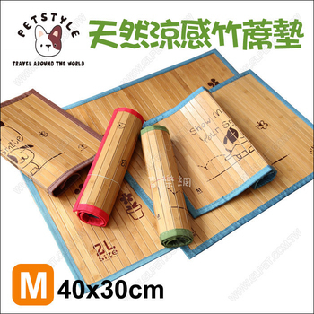 PetStyle 小狗印花天然涼感竹蓆墊(M-40x30cm不挑色)