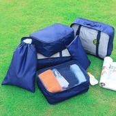 《Jtourist》低調奢華無印防潑水加厚耐用旅行衣物收納袋6件套(深藍)