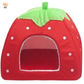 《月陽》大號43cm草莓蒙古包寵物窩狗窩貓窩寵物床附軟墊(DC4)(紅色)