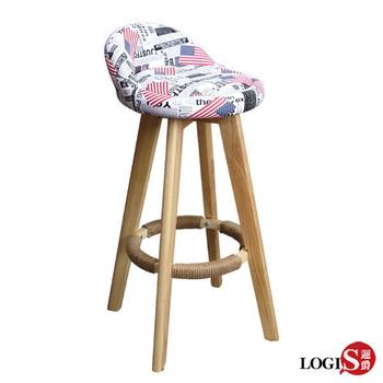LOGIS-USA美國風生活美學旋轉實木高腳吧台椅 吧檯椅 高腳 AA-529(白)