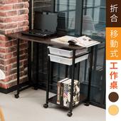 《澄境》簡約輕巧移動式二抽收納折疊桌/書桌(胡桃色)