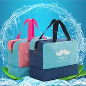 《Bunny》創意乾濕分離防水手提旅行衣物鞋子收納袋包(四款可選)(藏青鬍子)