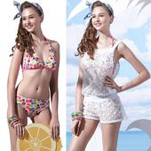 《SAIN SOU》戲水/沙灘/踏浪大女 比基尼 三件式 泳裝/泳衣-附泳帽A93609(L)下單即贈襪子2雙,同訂單滿800再送冰涼巾