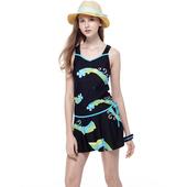 《SAIN SOU》戲水/沙灘/踏浪大女 二件式 泳裝/泳衣-附泳帽A92613(M)