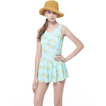 《BICH LOAN》泡湯/SPA專用 女 大尺碼 連身裙 泳裝/泳衣13006619(XL)