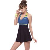 《SAIN SOU》泡湯SPA二件式 連身裙 女 泳裝/泳衣-附泳帽A92610(M)