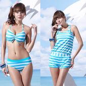 《SAIN SOU》戲水/沙灘/踏浪大女 比基尼 三件式 泳裝/泳衣-附泳帽A93607(M)下單即贈襪子2雙,同訂單滿800再送冰涼巾