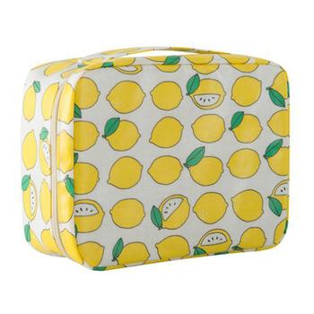 《韓版》可愛繽紛加厚大容量防潑水盥洗 化妝包(4色)(清新檸檬)