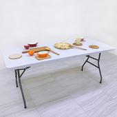 《免工具》寬180公分(桌厚4公分)對疊折疊桌/書桌/電腦桌/餐桌/工作桌/野餐桌/拜拜桌/摺疊桌(象牙白色)
