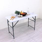 《免工具》寬122x高50-62-74/公分(三段式可調整高低)對疊折疊桌/書桌/餐桌/露營桌/工作桌/拜拜桌(象牙白色)