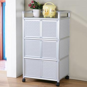 《Homelike》鋁合金2尺六門收納櫃(黑花格)