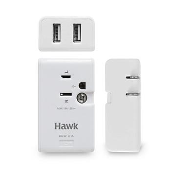 ★結帳現折★Hawk Hawk D1旅行家AC/USB充電擴充座(白)