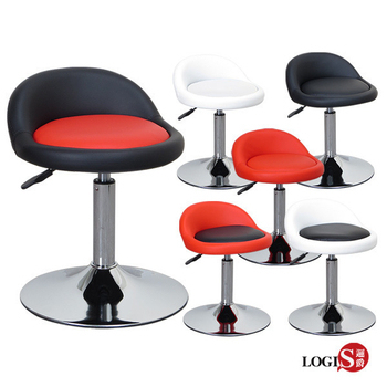 邏爵- 低卡咪吧台椅/低吧檯椅/工作椅/美容椅/休閒椅/美髮椅 6色【029A0】(白背黑墊)