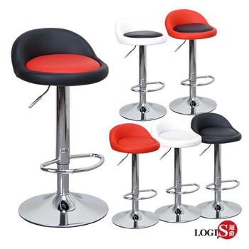 LOGIS邏爵- 高卡咪腳圈吧台椅/高吧檯椅/工作椅/美容椅/休閒椅/美髮椅/旋轉椅 029A0X(全黑)