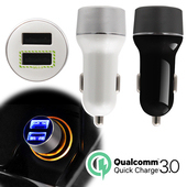 CA-2UQ3 QC3.0快速充電雙孔輸出車用USB充電器(白)