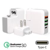 QC3.0快充+Type-C 4孔輸出 USB充電器(白)