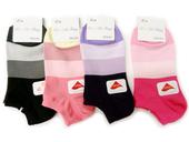 萊卡細針船襪(拼色塊-黑)