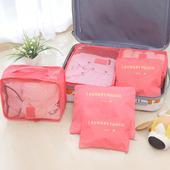 《巴芙洛》韓版旅行收納袋6+1件套-西瓜紅(西瓜紅)