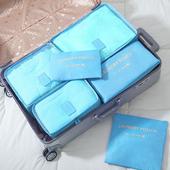 《巴芙洛》韓版旅行收納袋6+1件套-西瓜紅(天藍)