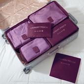 《巴芙洛》韓版旅行收納袋6+1件套-西瓜紅(酒紅色)