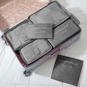 《巴芙洛》韓版旅行收納袋6+1件套-西瓜紅(灰色)
