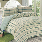 《Victoria》日式條紋加大床包被套枕套四件組-葉綠(6x6.2尺)