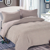 《Victoria》日式條紋加大床包被套枕套四件組-雅致(6x6.2尺)