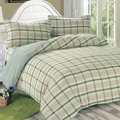 《Victoria》日式條紋單人床包被套枕套三件組-葉綠(3.5x6.2尺)