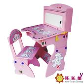 《Kikimmy》兒童升降書桌椅組(粉紅色)