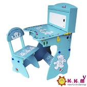 《Kikimmy》兒童升降書桌椅組(天空藍)