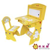 《Kikimmy》兒童升降書桌椅組(鵝黃色)