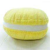 繽紛馬卡龍抱枕  靠墊、靠枕、圓枕(黃)(直徑35x高15cm)