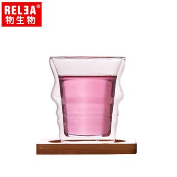 ★結帳現折★香港RELEA物生物 210ml側顏曲線雙層耐熱玻璃杯(附竹製底座)