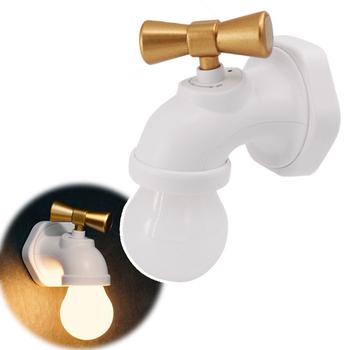 復古水龍頭造型充電式聲控感應LED夜燈(白燈座黃光)
