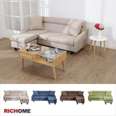 《RICHOME》(專人宅配組裝  樓層費另計)長野日式L型沙發-4色(卡其色)