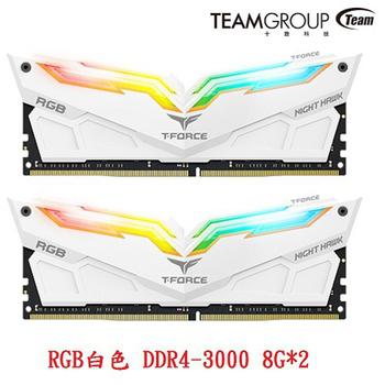 《十銓》Night Hawk RGB 白 D4-3000C16 8G*2